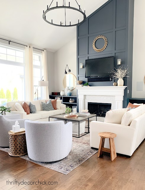 family room two sofas tall fireplace