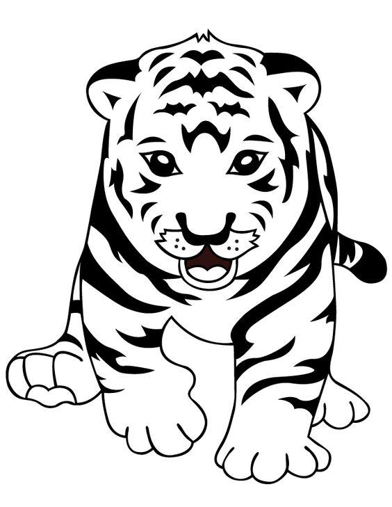 Tranh tô màu con hổ vui vẻ
