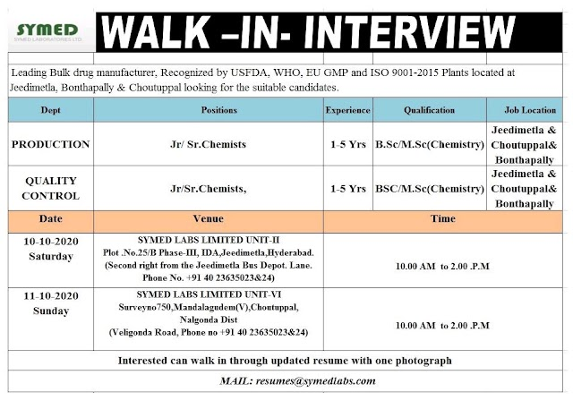 Symed Labs | Walk-in for Production/QC at Hyderabad on 10&11 Oct 2020