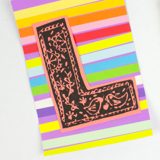 Easy Printmaking Project for kids- Print your Initial
