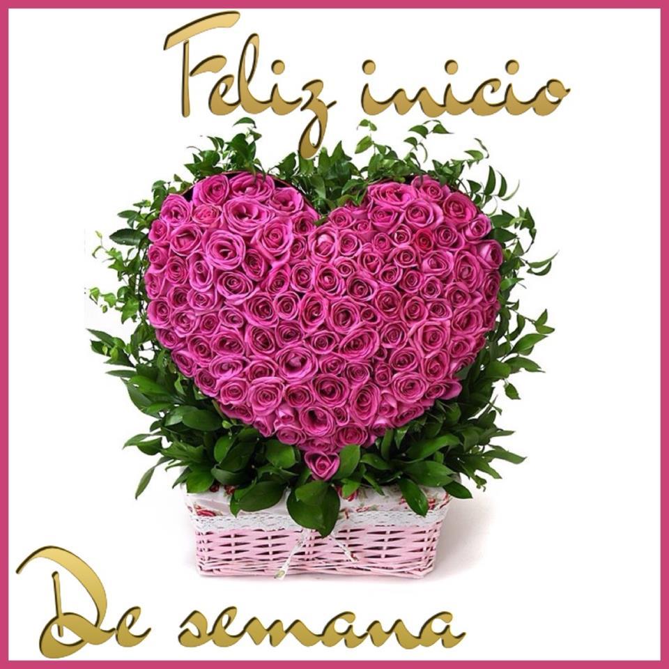 Corazón rosas Feliz Inicio de Semana