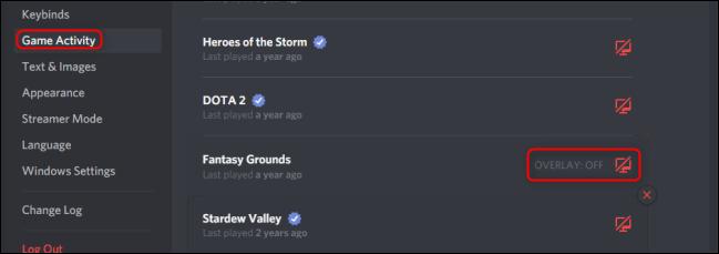 نشاط لعبة Discord