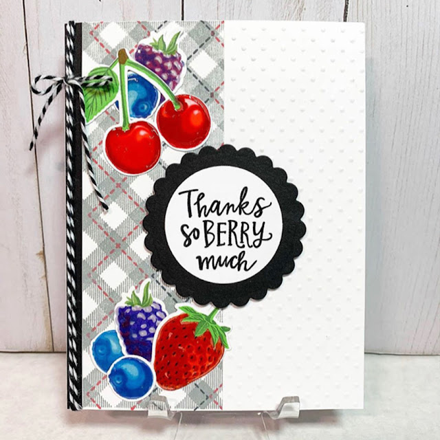 Sunny Studio Stamps: Berry Bliss Customer Card by Cheryl Horvath