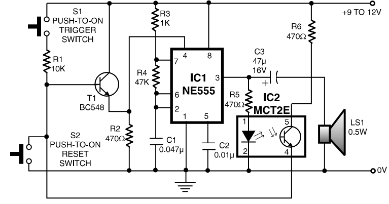 LatchUp Alarm Using OptoCoupler | CircuitsProjects