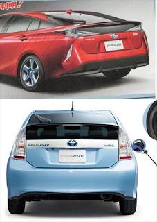 トヨタ新型プリウスPHVと現行プリウスPHVのリア画像の比較
