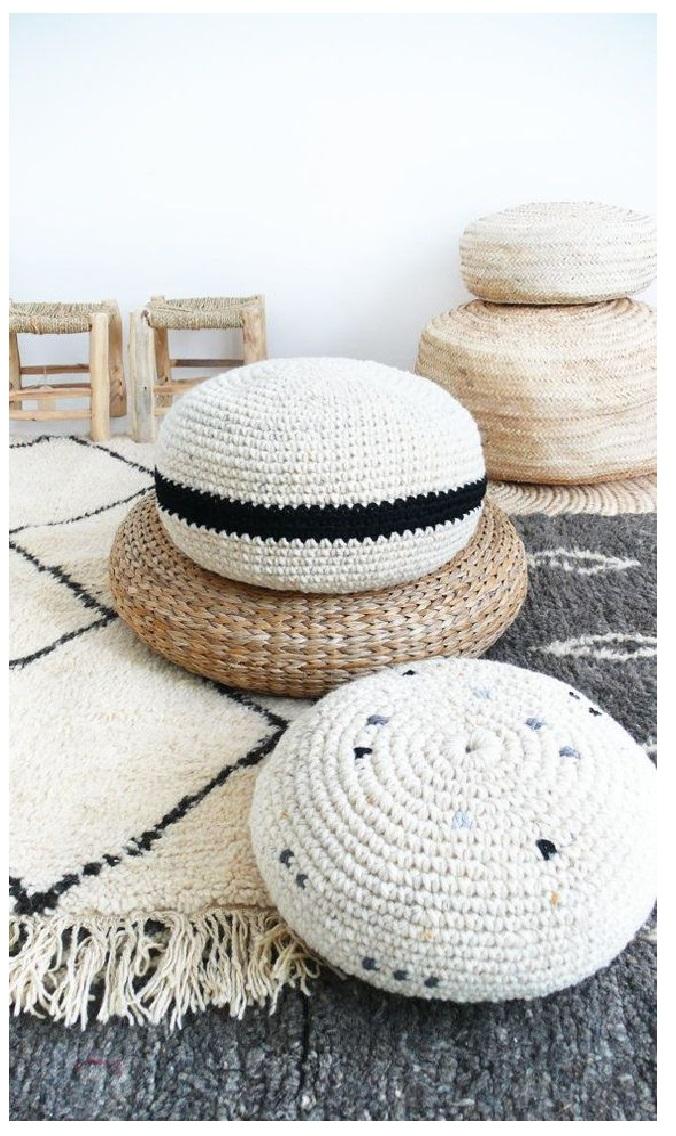 floor pouf Straw pouf Pouf ottoman meditation bean bag linen chair Crochet pouf thick wool Natural