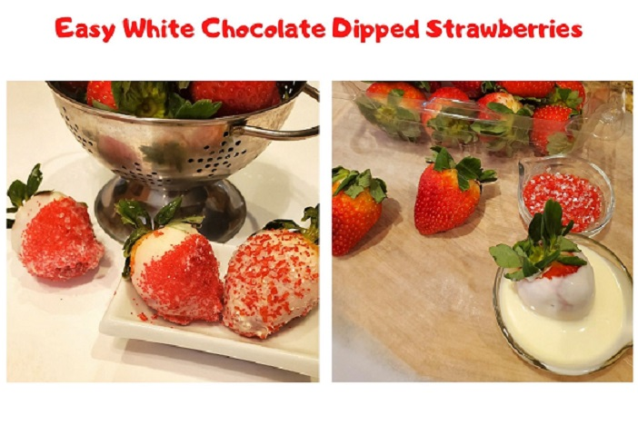 these are white chocolate dipped strawberries in red and white colorful sugar