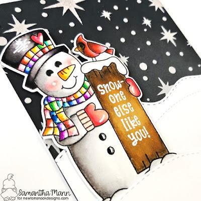 Snow-one Else Like You Card by Samantha Mann for Newton's Nook Designs, Christmas, Cards, Snowman, Stencil, Handmade Cards, #newtonsnook #christmascard #handmadecard