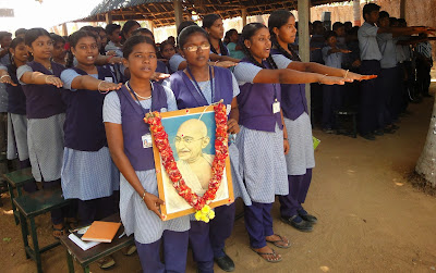 Gandhi Jayanthi celebrated in SEVAI Shanthi Matriculation Higher Secondary School.