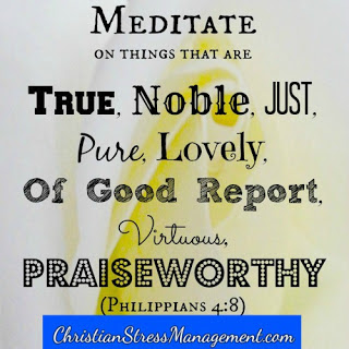 Meditate on things that are true, noble, just, pure, lovely, of good report, virtuous and praiseworthy (Philippians 4:8)