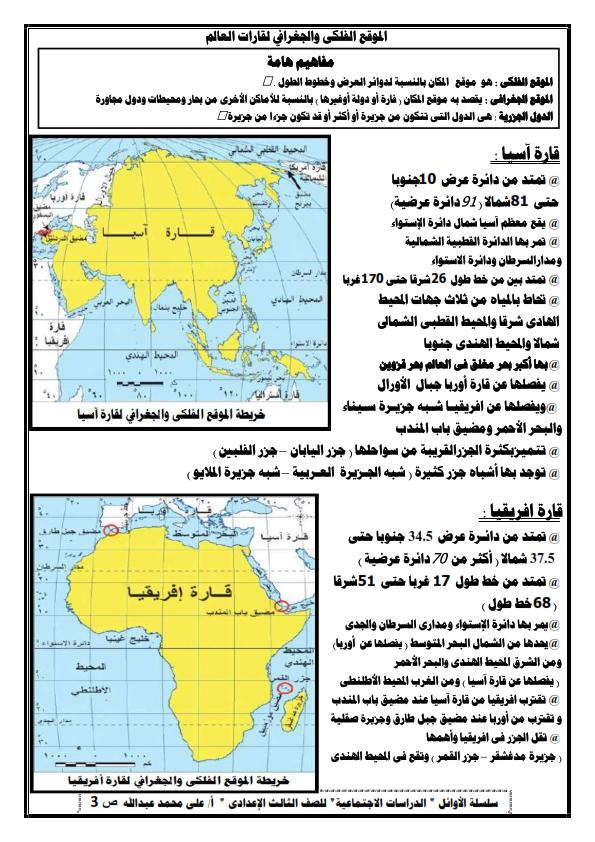 تلخيص الوحدة الأولى دراسات للصف الثالث الاعدادي ترم أول أ/ على محمد عبد الله 0%2B%25282%2529