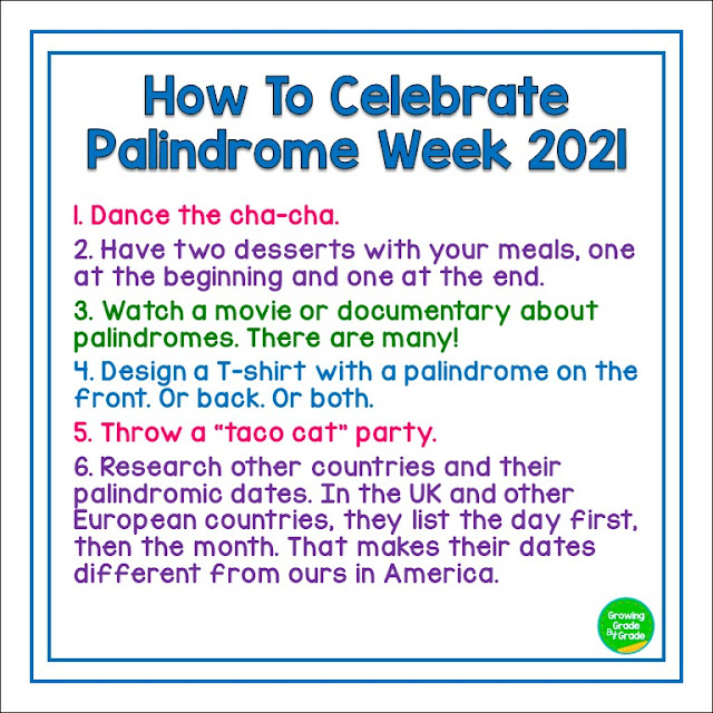 List of palindrome activities 2021