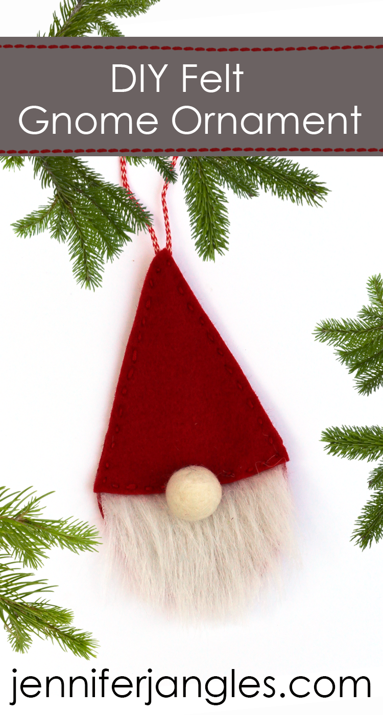 Jennifer Jangles Blog DIY Felt Gnome Ornament