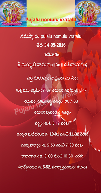Today' s Panchangam in Telugu