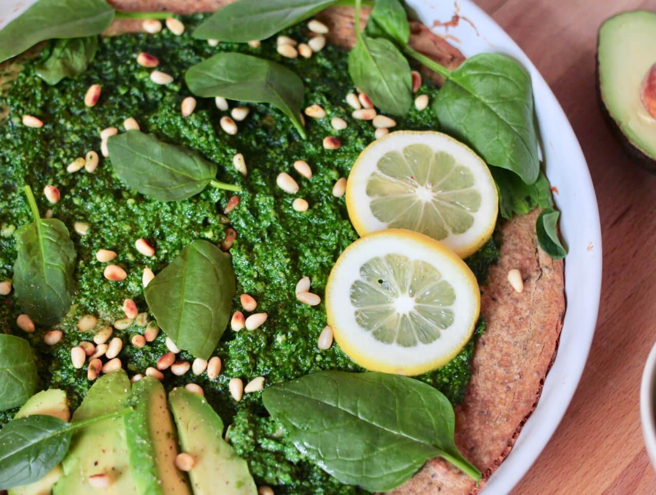 Buchweizen Tarte mit Spinat Pesto