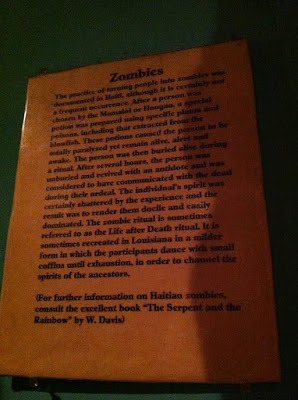 zombie information at the voodoo museum in NOLA