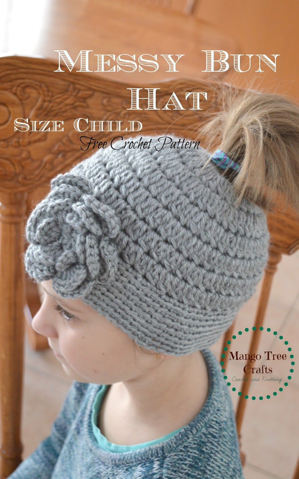 Messy Bun Hat Free Crochet Pattern Size Child