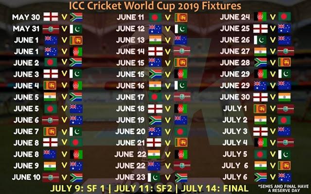 WC 2019 Fixtures