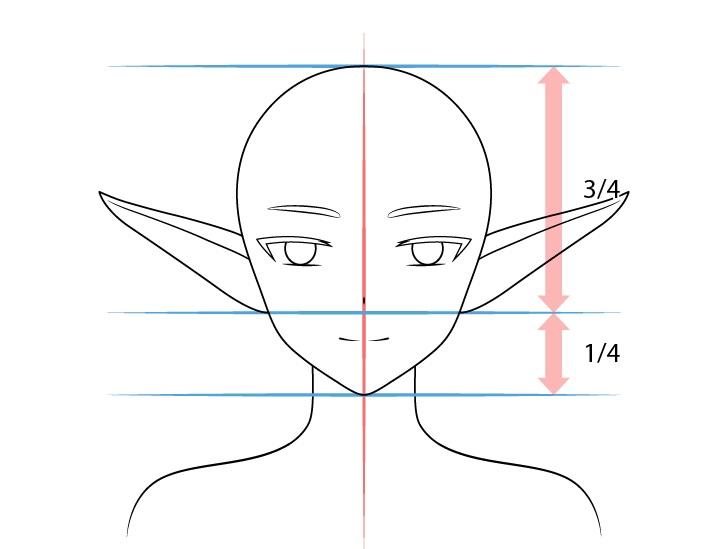 Anime mengangkat telinga peri menggambar