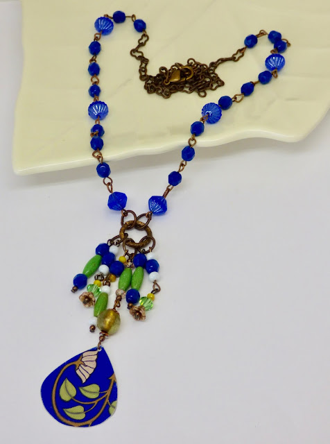 Long Royal Blue Floral Necklace by BayMoonDesign