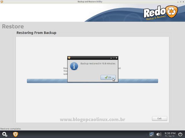 O backup foi restaurado com sucesso!