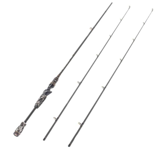 Entsport Camo Legend 24 Ton Carbon Fiber Heavy Portable Baitcasting Fishing Rod with 2 Tips (Medium, 7-Feet) - 2 Pieces