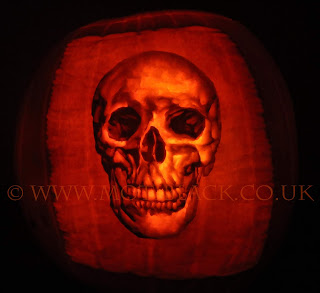 A skull carved on a pumpkin