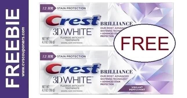 FREE Crest Brilliance Toothpaste CVS Deal 8-15-8-21