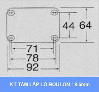 Kích thước Lắp đặt Bộ khóa sàn xe đẩy Colson Mỹ tổng chiều cao khi khóa 159mm | 6002x5 www.banhxeday.xyz