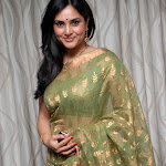 Ramya in Green Saree Cute Pictures