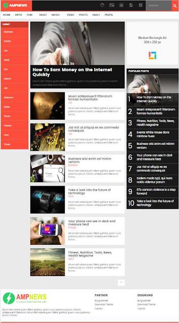 amp news قالب بلوجر