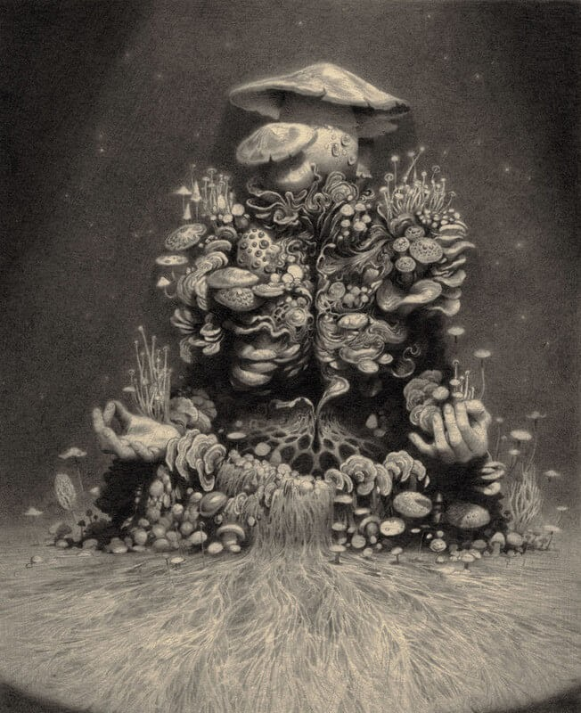 10-Mycelial-man-Johnston-Fascinating-Surreal-Pencil-Drawings-www-designstack-co
