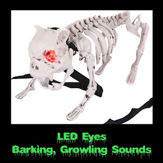 Zombie Pet BARKING DOG SKELETON PROP Halloween Cemetery-LED Eyes