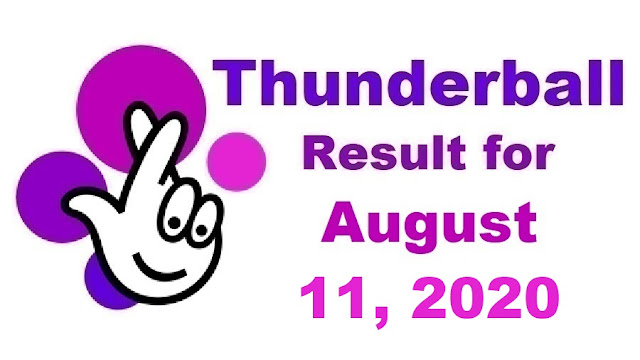 Thunderball Results for Tuesday, August 11, 2020