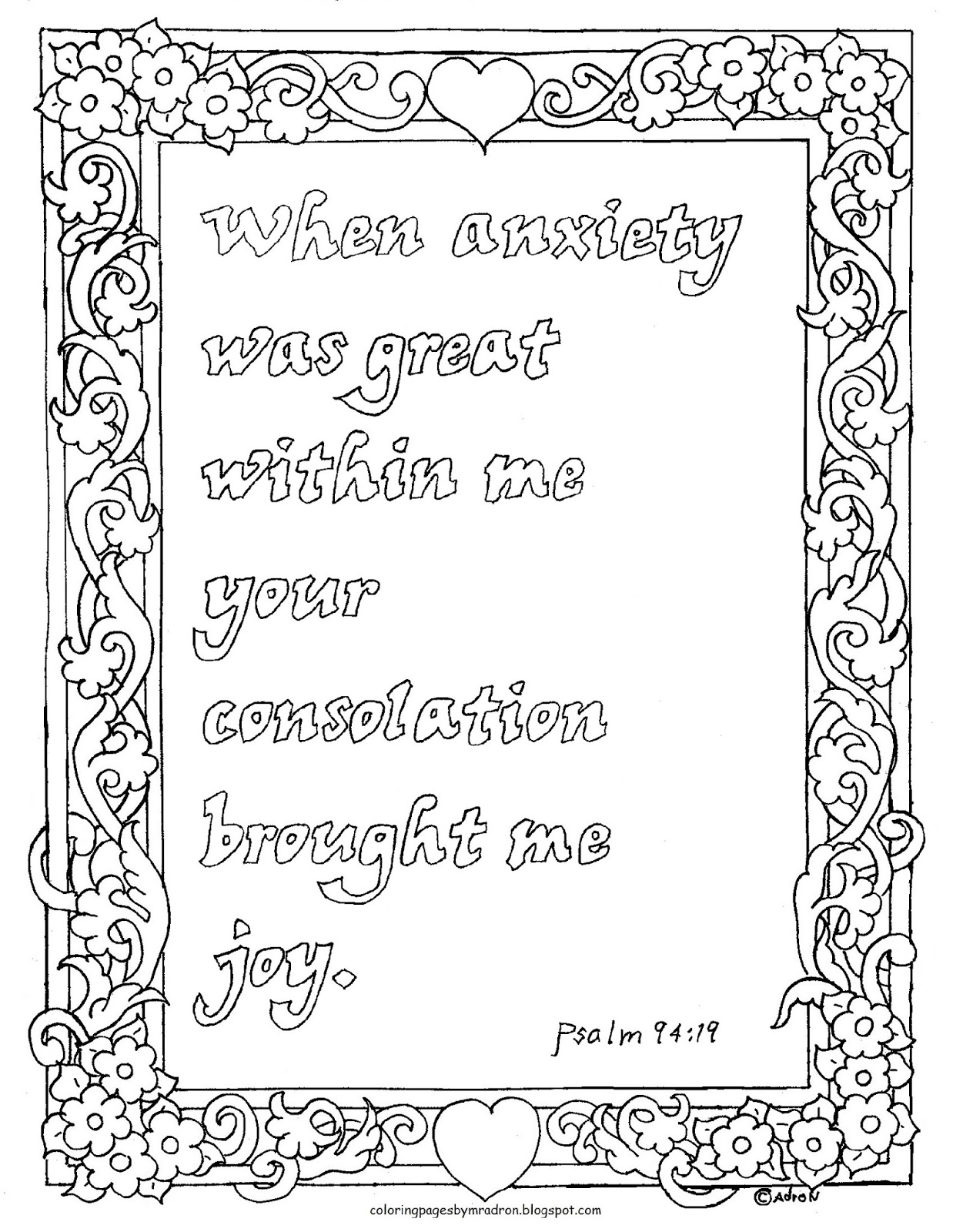 Coloring Pages For Kids By Mr Adron Psalm 94 19 Bible