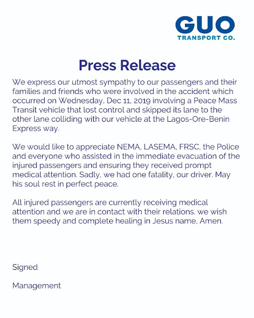 "Peace Mass Fatal Accident That Killed ""18"" Passengers - GUO Releases Statement"