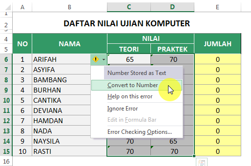Convert Number Stored as text di Excel