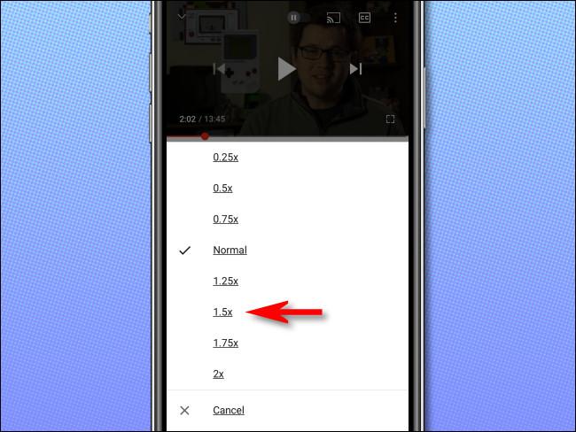 حدد سرعة تشغيل YouTube التي تريدها من القائمة.