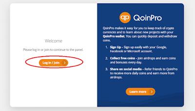 Register mendaftar buat akun di QoinPro dengan memasukkan email dan password untuk mulain mendaptkan bitcoin gratis
