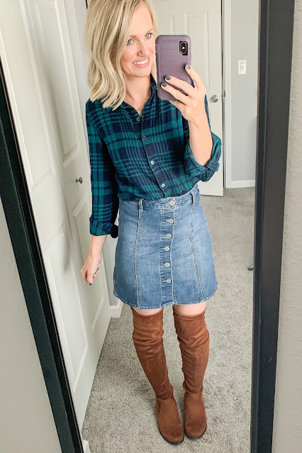 Thanksgiving outfit idea with plaid shirt and denim skirt