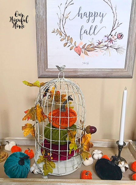 velvet pumpkin bird cage cotton boll leaf garland