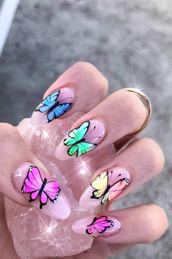 Butterfly nail art designs have become one of the most common patterns in nail art ✘ 26 Stylish Butterfly Nails 2020 To Copy This Spring