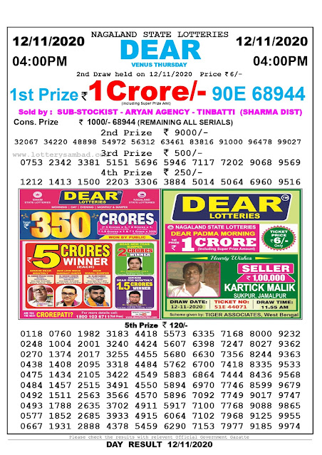 nagaland State Lottery Result 12-11-2020, Sambad Lottery, Lottery Sambad Result 4 pm, Lottery Sambad Today Result 4 00 pm, Lottery Sambad Old Result