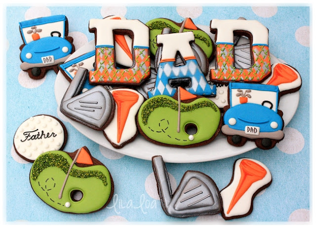 Father's Day golf themed decorated sugar cookies - golf cart, golf balls, golf clubs