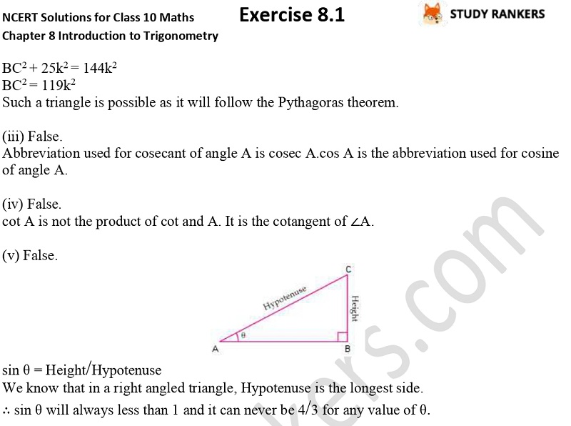 NCERT Solutions for Class 10 Maths Chapter 8 Introduction To Trigonometry Exercise 8.1 Part 8
