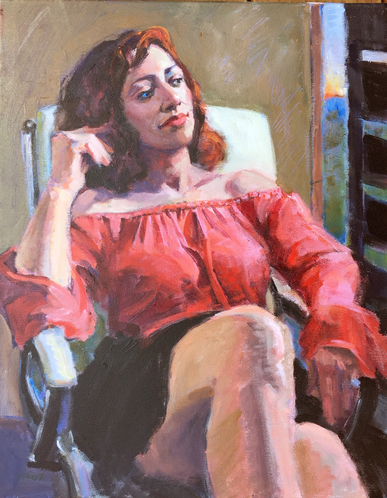 Dusk Woman Seated By Window Sunset Over Ocean Figurative