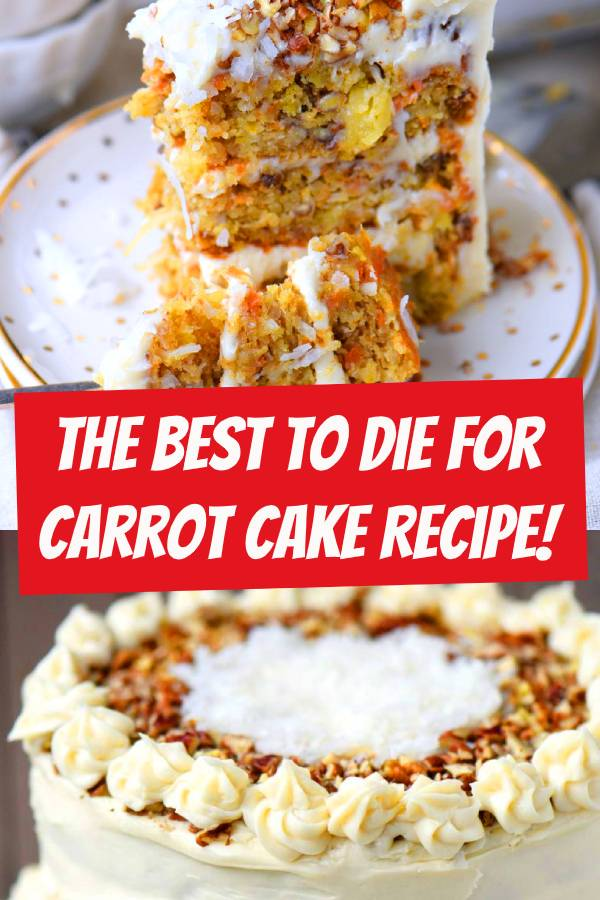 This To Die For Carrot Cake recipe receives rave reviews for it's unbelievable moistness and delicious flavor! Truly the BEST Carrot Cake you'll ever try! So easy to make and as an added bonus, there's no oil or butter. I know this cake will quickly become a family favorite! #carrotcake #cake #bestcake #desserts