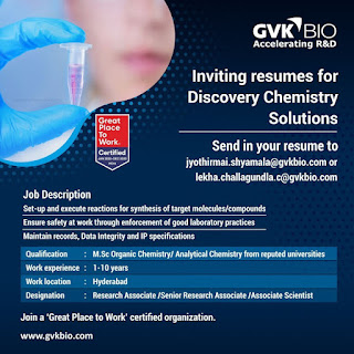 GVK BIO - Multiple Openings in Discovery Chemistry Solutions - Apply Now