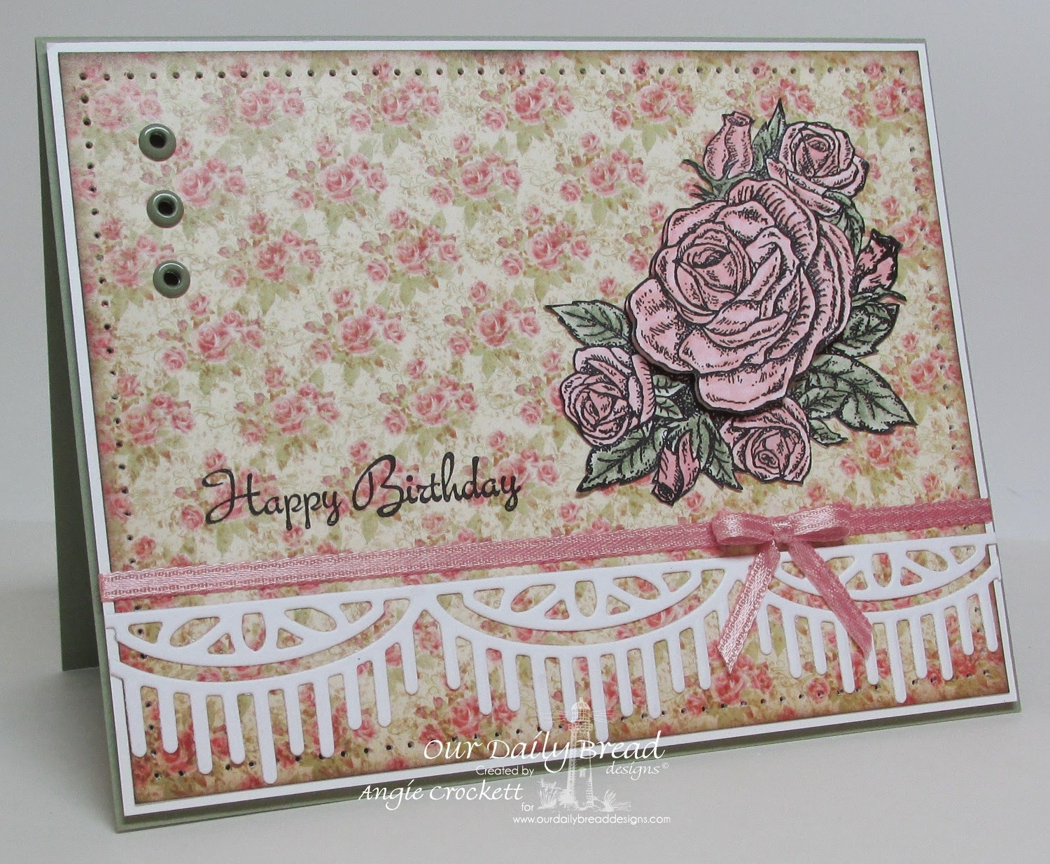 ODBD Smell the Roses, Blushing Rose Designer Paper, Beautiful Borders Die Set, Card Designer Angie Crockett