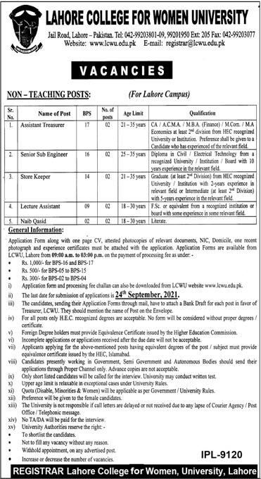 www.lcwu.edu.pk - LCWU Lahore College for Women University Jobs 2021 in Pakistan